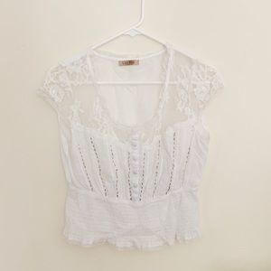 Anthropologie Lace White Blouse ☁️